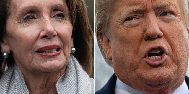 Demokraternas ledare i representanthuset Nancy Pelosi, president Donald Trump. Arkivbilder.  JIM WATSON / AFP