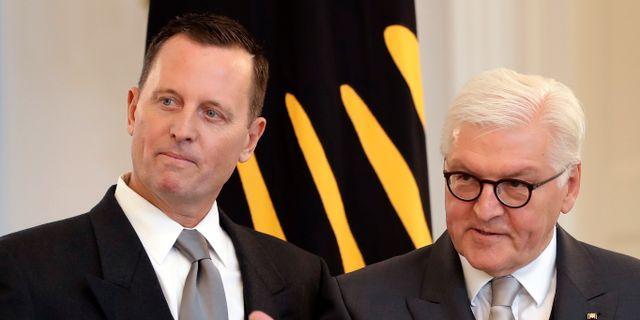 USA:s Tysklandsambassadör Richard Grenell och Tysklands president rank-Walter Steinmeier. Michael Sohn / TT / NTB Scanpix