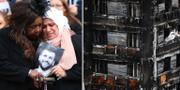 Sörjande anhöriga vid minnesceremoni efter branden/den utbrända byggnaden. TT