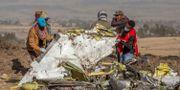 Personal arbetar med att bärga vrakdelar efter planet. Mulugeta Ayene / TT NYHETSBYRÅN