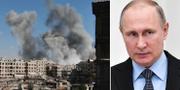 Till vänster: Flygbombningar mot östra Ghouta den 23 februari. Till höger: Rysslands president Vladimir Putin.