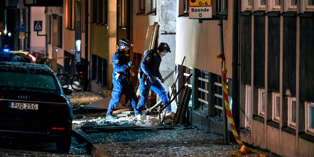 Bild från sprängning på Östermalm i Stockholm.  Anders Wiklund/TT / TT NYHETSBYRÅN