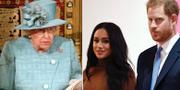 Drottning Elizabeth II/Meghan Markle och prins Harry. TT