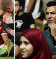 Salah undersöks på planen/Egyptier som följer matchen på ett café i Kairo reagerar när Salah skadar sig TT