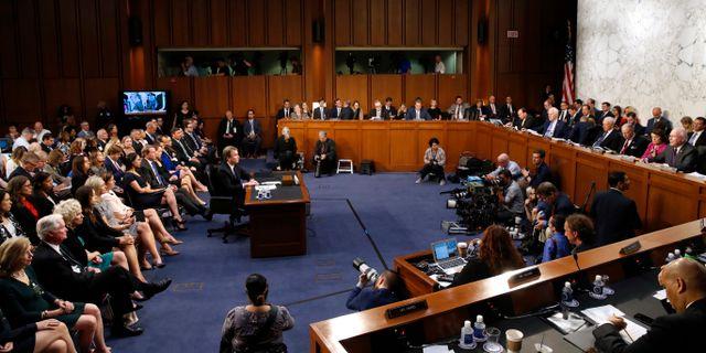 Brett Kavanaugh i senatens juridiska utskott. Jacquelyn Martin / TT NYHETSBYRÅN