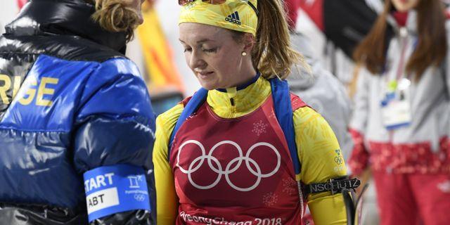 Mona Brorsson hade en tung dag i Pyongchang. ANDERS WIKLUND/TT / TT NYHETSBYRÅN