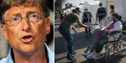 Bill Gates/kvinna i Peru sprayas med desinfektionsmedel.  TT.