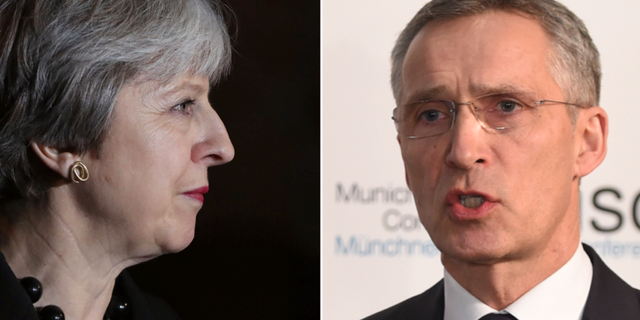 Storbritanniens premiärminister Theresa May och Natos generalsekreterare Jens Stoltenberg. TT