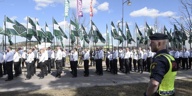 Arkivbild: Nazistiska Nordiska motståndsrörelsen demonstrerar i Falun. Ulf Palm/TT / TT NYHETSBYRÅN