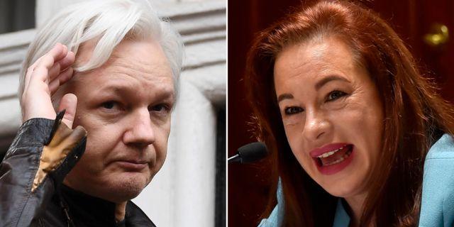 Julian Assange och Maria Fernanda Espinosa.  TT