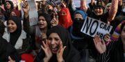Bild från protesterna på Jamia-universitetet i helgen.  ANUSHREE FADNAVIS / TT NYHETSBYRÅN