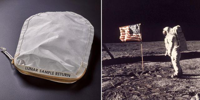 Påsen med måndamm som Neil Armstrong samlade ihop udner den första månfärden/Buzz Aldrin på månen.  Sotheby's/TT