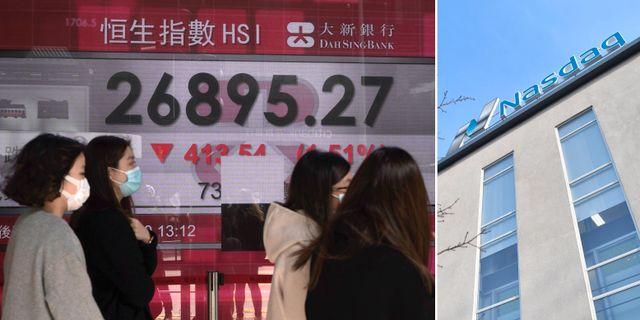 Illustrationsbilder: Kvinnor med munskydd i Hongkong går förbi en skärm med börskurser. Stockholmsbörsen. TT