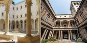 Det före detta klostret San Salvador i Venedig (vänster) och Palazzo Costa Ferrari i Piacenza är två byggnader som ska säljas. Agenzia del Demanio