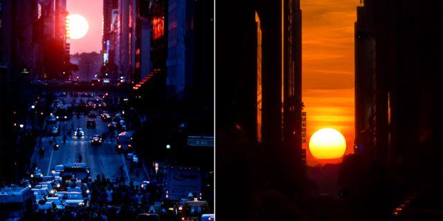 Manhattanhenge sedd från 42nd Street. Julio Cortez/TT | Grisha Levit/Wikicommons