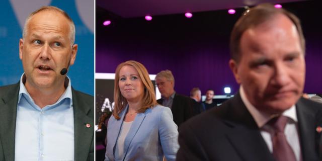 Jonas Sjöstedt (V), Annie Lööf (C) och Stefan Löfven (S). TT