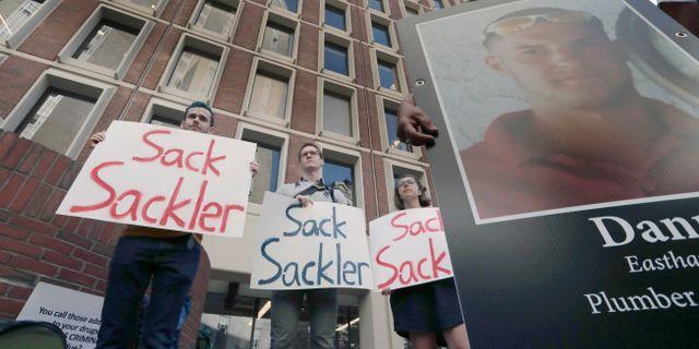 Arkivbild: Demonstration mot Purdue Pharma i Boston. Charles Krupa / TT NYHETSBYRÅN