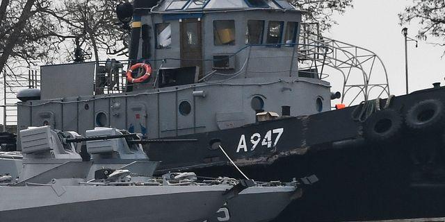 Ett av de beslagtagna ukrainska fartygen. TT NYHETSBYRÅN/ NTB Scanpix
