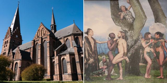 """Sankt Petri kyrka t.v. Tavlan """"Paradiset"""" t.h. TT/Svenska kyrkan"""