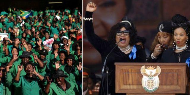 Sörjande samlas för att hylla Winnie Madikizela-Mandela. Hennes döttrar höll tal på ceremonin. TT