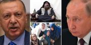Turkies president Erdogan, IS-ledaren  al Baghdadi, Rysslands president Putin samt kvinnor som sörjer vid en begravning i norra Syrien. TT