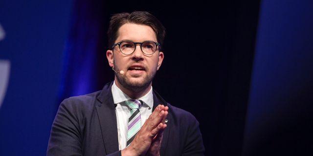 Sverigedemokraternas partiledare Jimmie Åkesson på partiets landsdagar i Norrköping.  Pontus Lundahl/TT / TT NYHETSBYRÅN