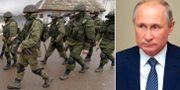 Arkivbild på pro-ryska soldater på Krimhalvön och Rysslands president Vladimir Putin.  AP