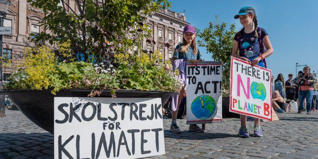 Unga tjejer som som klimatstrejkar I Stockholm. Arkivbild. Stina Stjernkvist/TT / TT NYHETSBYRÅN