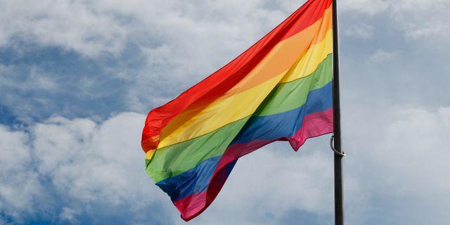 Pride-flagga. Arkivbild. Åserud, Lise / TT NYHETSBYRÅN