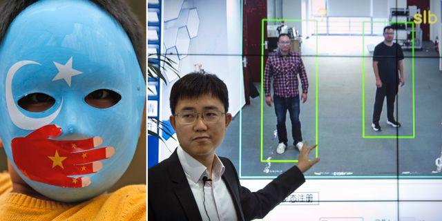 En demonstrant för uigerernas rättigheter i Kina/en kinesisk företagare visar upp en teknik som identifierar människor genom igenkänning av kroppsform. TT