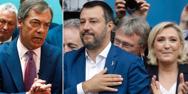 Farage/Salvini och Le Pen. TT