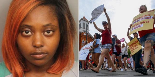 Marshae Jones (v), och demonstrationer i Alabama (hö) TT