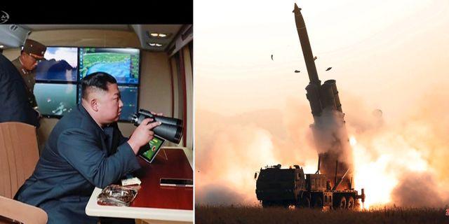 Kim Jong-Un och ett tidigare vapentest. Arkivbilder. TT