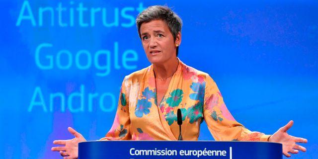 Arkivbild: EU:s kommissionär Margarethe Vestager. JOHN THYS / AFP
