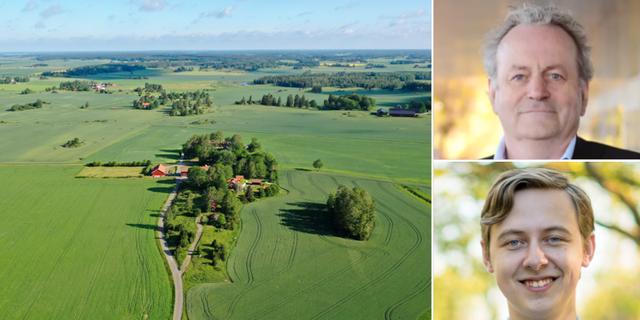Flygbild över Håbo kommun/Per-Samuel Nisser (uppe) och Alexander Torin. TT/Karlstad kommun/Moderaterna