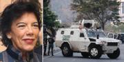 Isabel Celaa/bild på ett militärfordon som blockerar en väg i Venezuela bredvid flygplatsen där Juan Guaidó höll tal idag. Wikipedia/TT