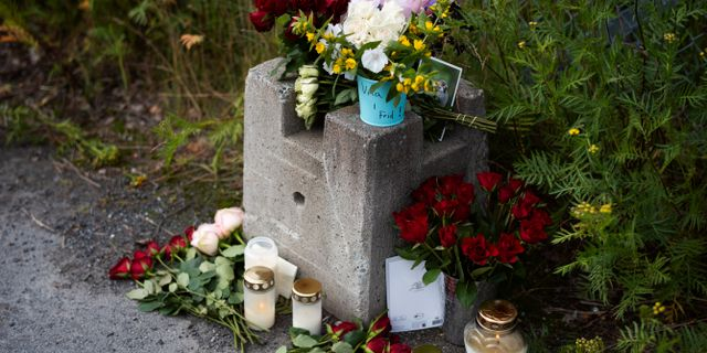 Blommor utanför grindarna till fallskärmsklubben i Umeå, två dagar efter flygolyckan. Erik Abel/TT / TT NYHETSBYRÅN