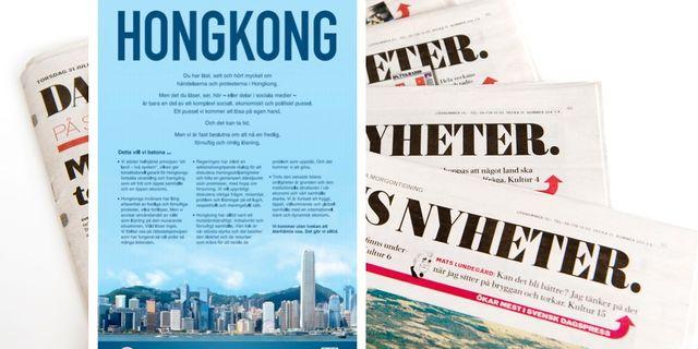 Den kinesiska staten har köpt en helsideannons i Dagens Nyheter.  TT / DN