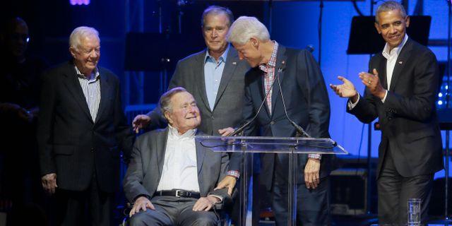 Jimmy Carter, George H W Bush, George W Bush, Bill Clinton och Barack Obama.  LM Otero / TT / NTB Scanpix