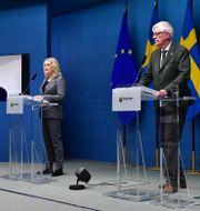 Richard Bergström, Lena Hallengren (S) och Johan Carlson.  Jonas Ekströmer/TT / TT NYHETSBYRÅN