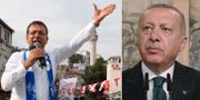 CHP:s borgmästarkandidat Ekrem Imamoglu / Turkiets president Recep Tayyip Erdogan.  TT