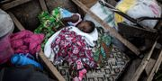 Barn på flykt sover i en båt i Tchomia i Kongo-Kinshasa. JOHN WESSELS / AFP
