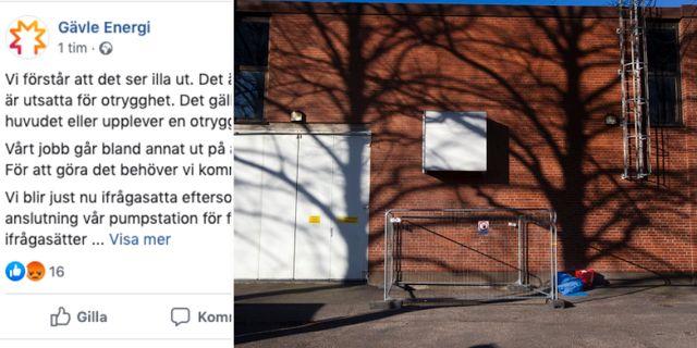 Avspärrningen vid pumpstationen i Gävle har fått kritik. Facebook & Catharina Hugosson/Arbetarbladet