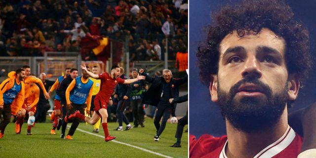 Roma firar vädningen mot Barcelona/Liverpools Mohamed Salah TT