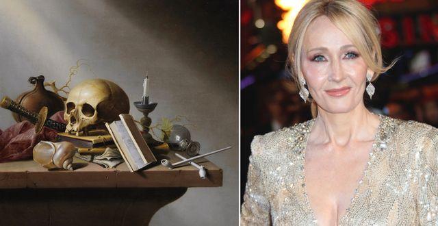 Målningen J.K. Rowling lagt upp (t v), J.K. Rowling (t h). Wikimedia/TT