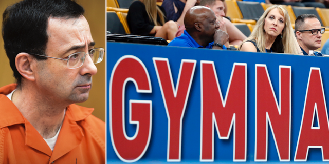 Larry Nassar under rättegången. Kerry Perry, tidigare president för USA:s gymnastiklag, som har avgått. TT