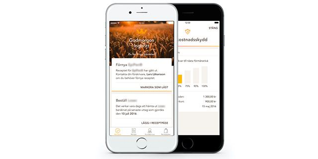 Appen är lätt att använda och innehåller många olika smarta funktioner.  Kronans Apotek