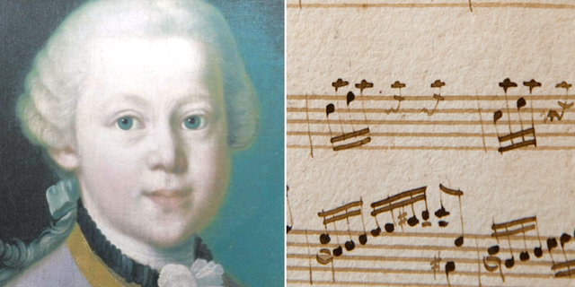 Den unge Mozart och ett av hans musikstycken. TT