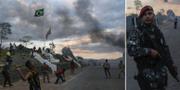 Bilder från de våldsamma protester som inträffade vid gränsen mellan Brasilien och Venezuela efter att den stängts i februari. TT