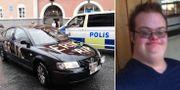 """En bil med texten """"Erik RIP"""" skrivet på står utanför den plats där Eric Torell blev ihjälskjuten av polis.  TT/Privat"""